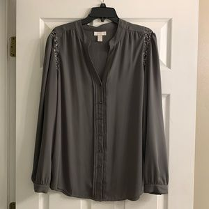 LOFT Grey Long Sleeve Button Down Blouse XL
